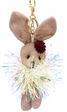 S-G2.3 KY2035-001D Keychain Glitter Bunny 15cm Brown
