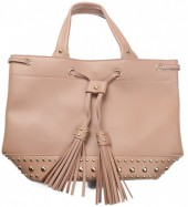 Q-B8.1  BAG535-003B PU Bag Tassels and Studs 36x25x15cm Pink