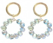 C-C8.1 E2019-004G Earrings with Faceted Glass Beads 35mm Gold