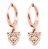 A-A7.4 E1842-010 Stainless Steel Earrings Leopard Rose Gold 10mm with 10mm Charm