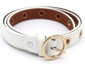 T-I7.2 BELT511-004A PU Belt with Golden Rings 108x2.5cm Adjustable White