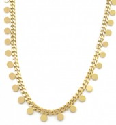 C-F6.2 N1561-209G S. Steel Necklace Coins Gold