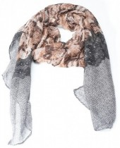 X-D2.2  S003-002 Scarf with Snakeskin Print 180x90cm Grey-Brown