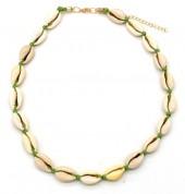D-D22.1 N316-012 Choker Necklace Shells 37-43cm Green