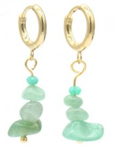 A-F16.2 E301-067G S. Steel Earrings with Stones 1.2x3cm Green