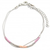 E-B20.3 B426-005 Layered Bracelet with Beads Silver