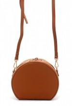 K-F8.1 BAG215-001 Round PU Bag with Large Handle Brown 18x15x9 cm
