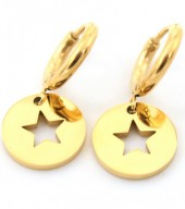 A-D5.2 E410-001 Stainless Steel Earrings Star Gold 10mm with 10mm Charm