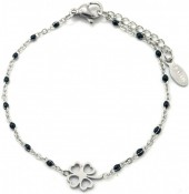E-A2.3 B301-028 S. Steel Bracelet with Black Dots and 10mm Clover Silver