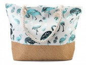 D-A25.1 BAG217-004B Beach Bag Wicker Flamingo  55x40x15cm
