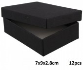 Z-E3.2 Gift box for Necklace-Ring-Earrings 7x9x2.8cm Black 12pcs