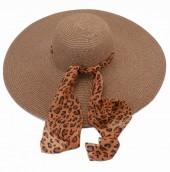 Y-B5.1 HAT210-001C Hat with Leopard Scarf 50cm Brown