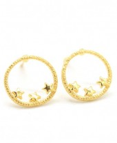 E-D5.5 SE104-102 Earrings 925 Sterling Silver Circle Stars Gold Plated