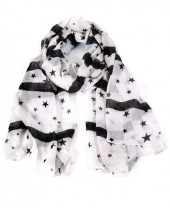 X-F10.1 S208-003 Scarf with Stars 70x180cm White