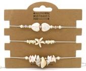 E-A19.2 B2001-052A Bracelet Set 3pcs Shells Grey