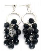 E-D9.3  E518-001C Earrings with Faceted Glass Beads 7x2cm Black-Silver
