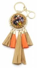 E-E23.1 KY538-001 Bag-Key Chain Rattan with Beads