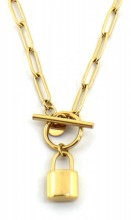 E-A18.2 N2033-020G S. Steel Necklace with 16mm Padlock Gold