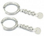 C-C5.2 E1934-002S Stainless Steel 15mm Earrings with 20mm Charm Silver