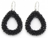 A-A16.1 E007-001 Facet Glass Beads 4.5x3.5cm Black