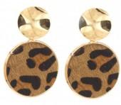 C-C15.3  E006-005 Earrings with Animal Print Gold-Brown 4x2.5 cm