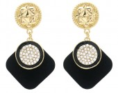 B-E9.3 E1631-030A Earrings with Crystals 4.5x2.5cm Gold