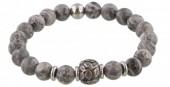 A-B17.4  S. Steel Bracelet with Semi Precious Stones Grey