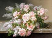 Q-F7.2 S6040 Diamond Painting Set Flowers Round Stones 50x40cm