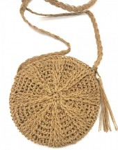 BAG003-005 Straw Crossbody Bag Round Brown
