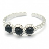 B-E9.3 R2033-006S S. Steel Ring with Stones Adjustable Silver