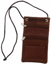 S-A5.1 Leather Safety Bag for Storing Valuables 17x10cm Brown