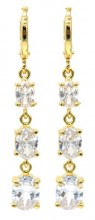 B-D8.2 E516-005 Earrings 1x4cm with Cubic Zirconia Gold
