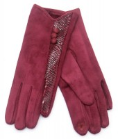 R-I3.2 GLOVE403-093E Glove Buttons and Snake Print Red