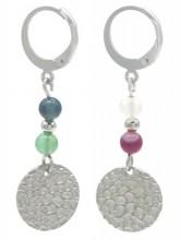 E-E6.5 E2121-054S S. Steel Earrings Indian Agate 1x3.5cm Silver