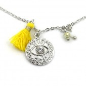 E-C9.3 N532-001S Necklace Tassel and Charm with Eye Silver