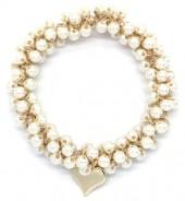 E-E15.2  H2039-001E Hair Elastic with Glass Pearls White