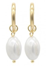 C-A5.3 E301-066M S. Steel Earrings with pearl 1.5x3.5cm Gold