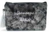 BAG520-001A Clutch With Tassel Champagne Addict Black-Silver