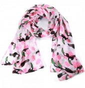 X-C8.2 S208-002 Scarf with Toucan Print 70x180cm Pink