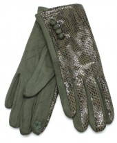 S-A3.3  GLOVE403-002B Gloves Shiny Snake Green
