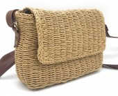 BAG003-004 Straw Crossbody Bag Brown