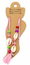 D-A21.1 ANK316-015 Anklet with Shells and Tassel Pink