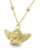 D-F2.2 N2043-019G S. Steel Necklace with 20mm Angel Gold