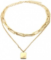 B-F22.2 N2019-014G Layered Chain Necklace Gold