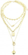 B-C16.1 N1561-0196 Layered Necklace Stars and Lock Gold
