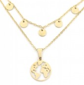 B-D18.3 N301-024G Layered S. Steel Necklace Coins-Globe Silver