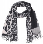 Y-C4.4 SCARF405-025A Soft Scarf Checkered Leopard 180x70cm Grey