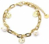 C-C2.3  B220-021G S. Steel Bracelet with Pearls and Coins Gold