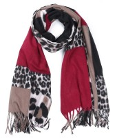 Y-A2.2 SCARF405-003 Soft Scarf Squares - Leopard 180x70cm Brown-Red