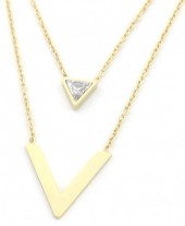 D-A3.2 N301-022G S. Steel Necklace V with Crystal Gold